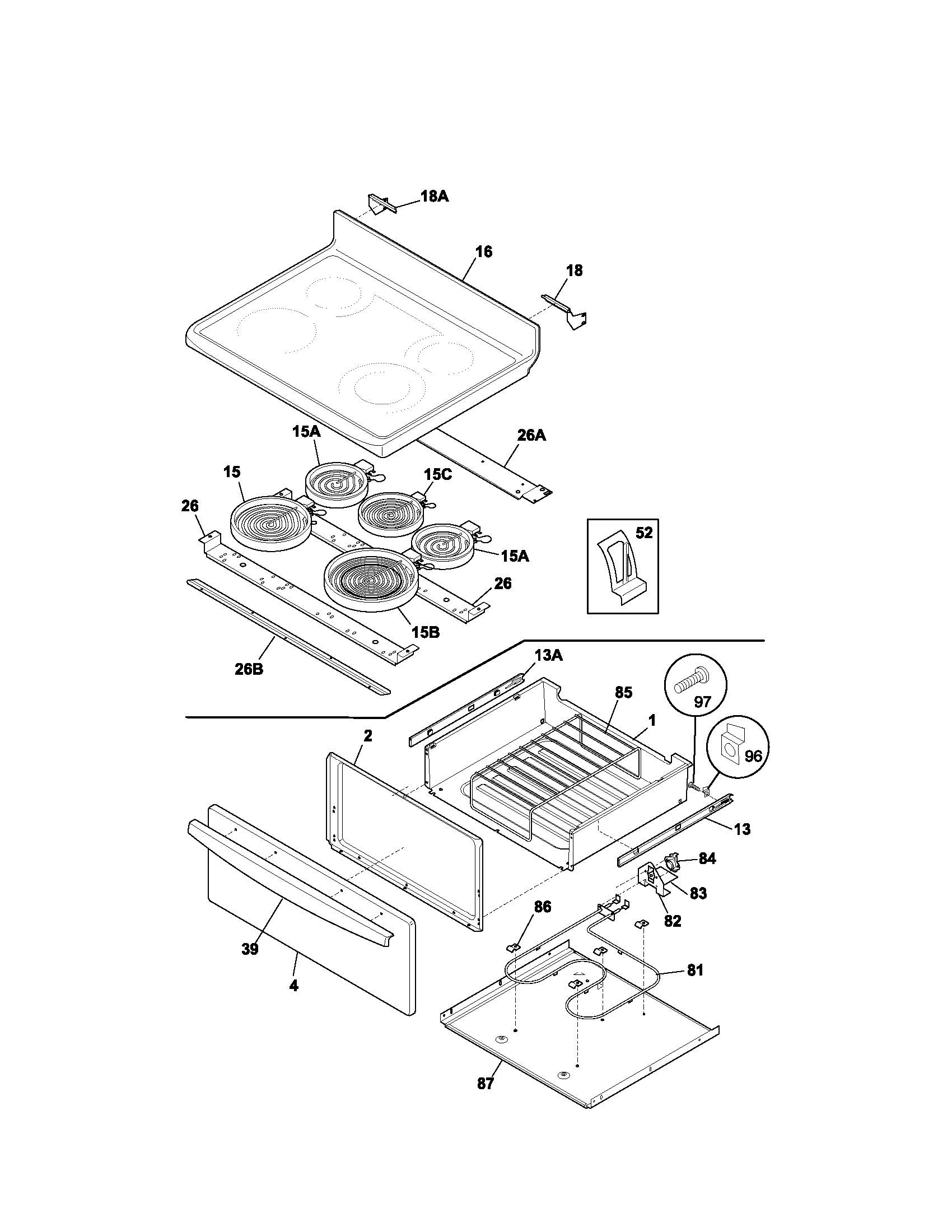 79095882301 electric range top drawer parts diagram
