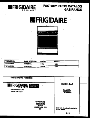 Frigidaire FGF353BAWA Range  Gas Timer  Stove Clocks and