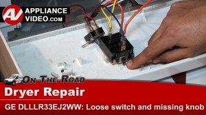 GE DLLLR33EJ2WW Dryer – Loose switch and missing knob – Control Panel | Appliance Video