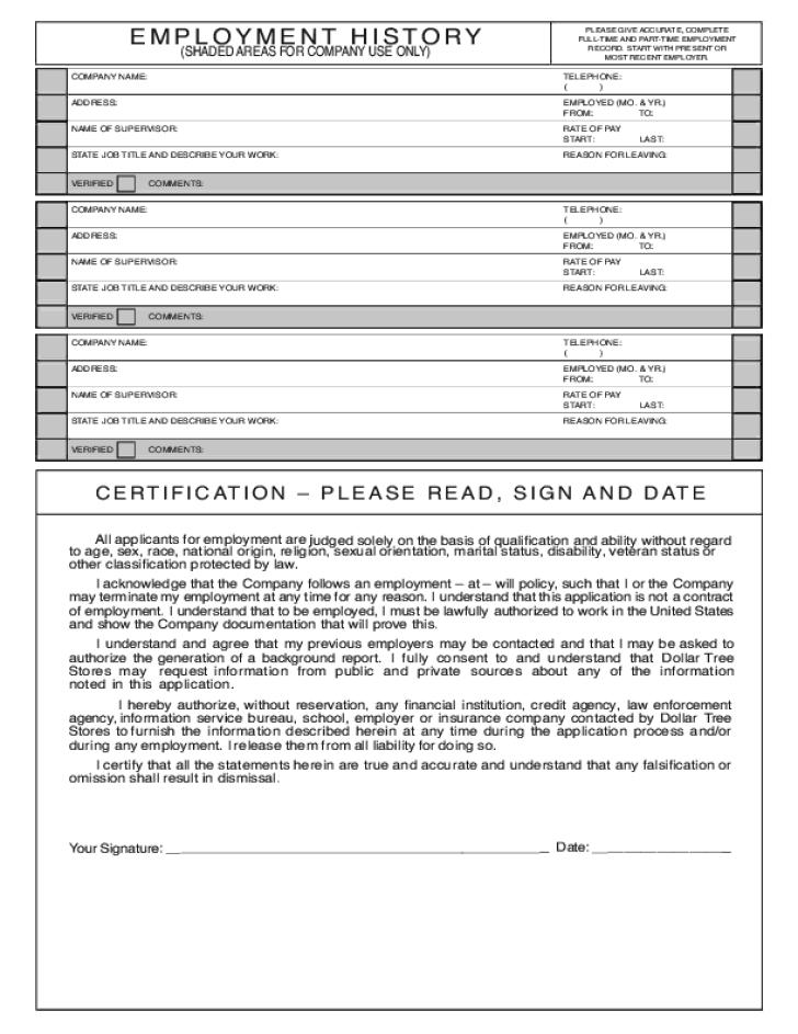 Application Family Dollar Print Form