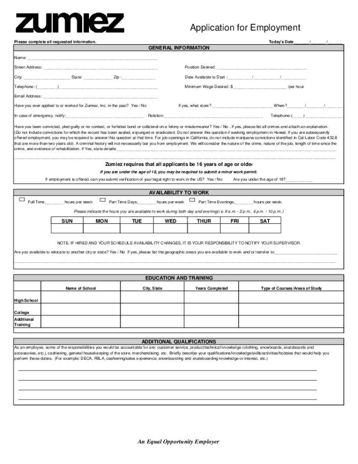 Foot Locker Job Application Form