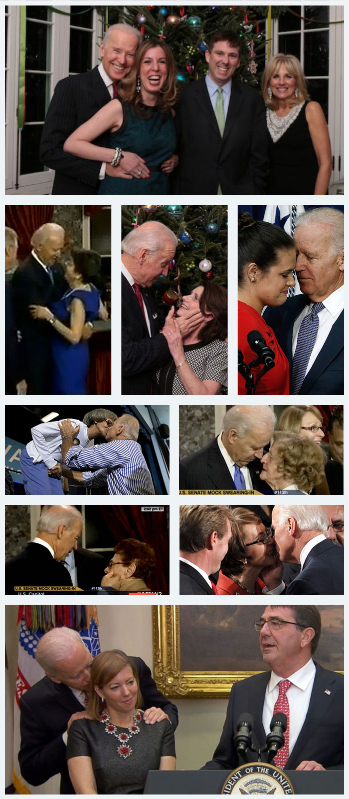 Joe Biden groping women collage