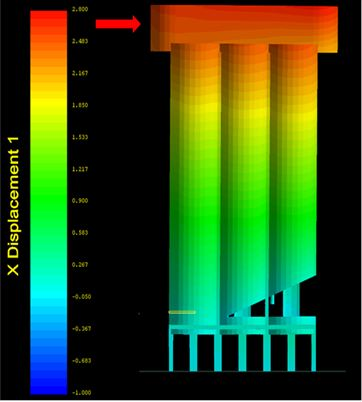 Demolition Analysis Modeling - Ambev Small Silo Demolition:  Case (2) wind in West to East direction - Applied Science International