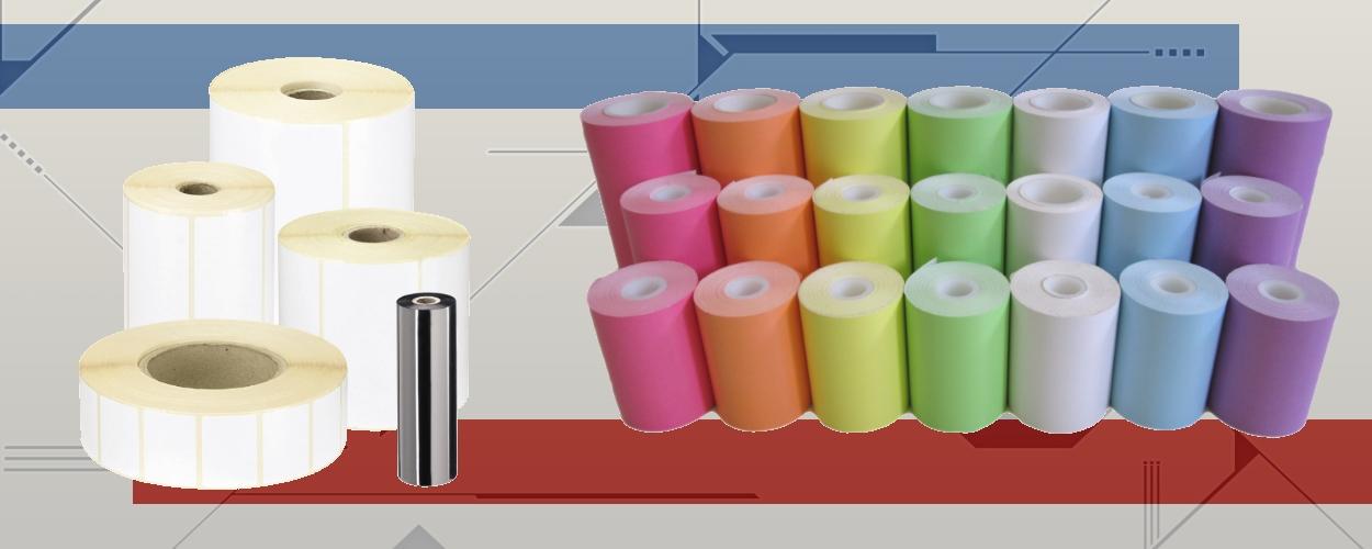 Etiquettes + papier couleur