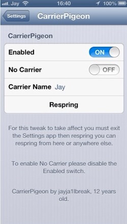 CarrierPigeon Cydia