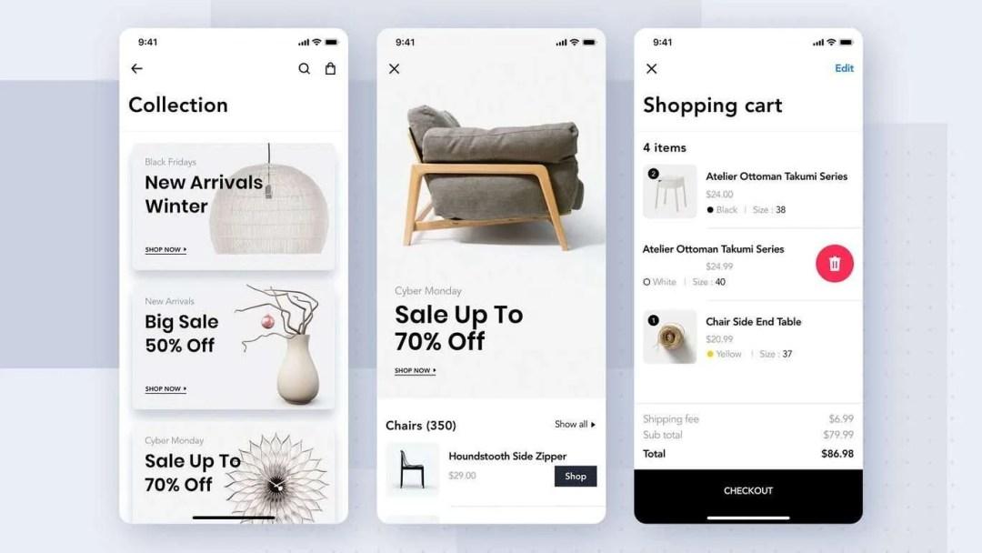 Furniture mobile app screenshots