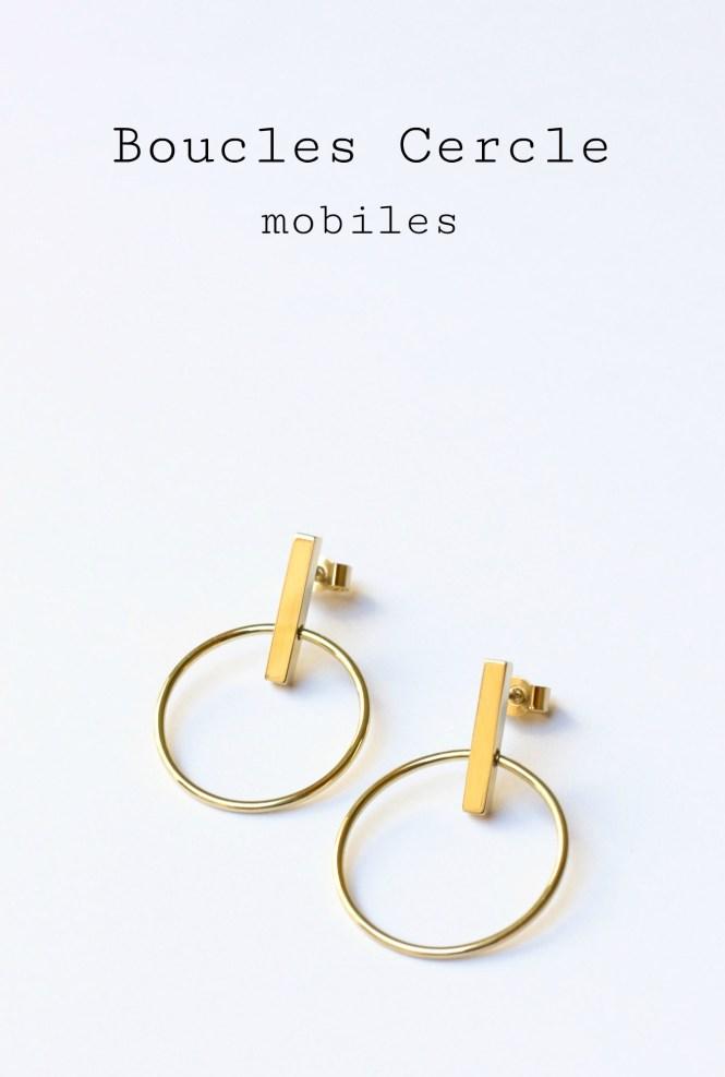 Boucles Cercle et Barre mobiles, défi 30 jours 30 créations sur www.apprendre-la-bijouterie.com