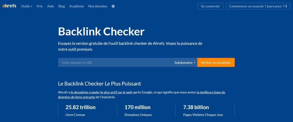 Backlink Checker, l un des outils SEO gratuits d Ahrefs