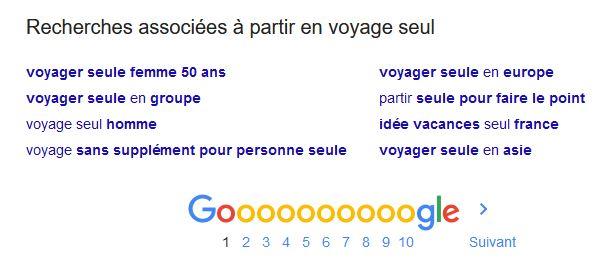 Exemple de recherches associees dans Google