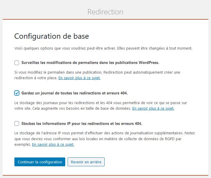 Plugin Redirection - Configuration de base