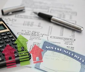 Collage of retirement planning with calculator, Social Security card, and housing