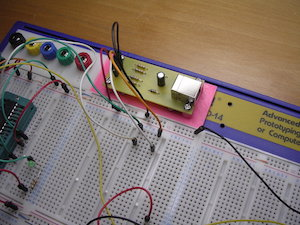 Image of the USB breakout board for V-USB installed on a breadboard
