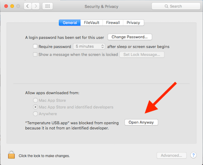 Screenshot of MacOS settings tab 'Security & Privacy'