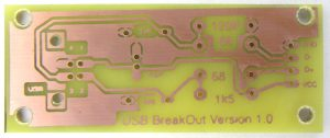 Image of the photo-etched PCB for the V-USB breakout board