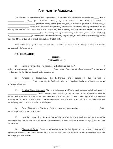 insert name of insert address and. Partnership Agreement Template Approveme Free Contract Templates