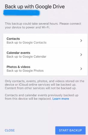 how to backup iphone to google drive