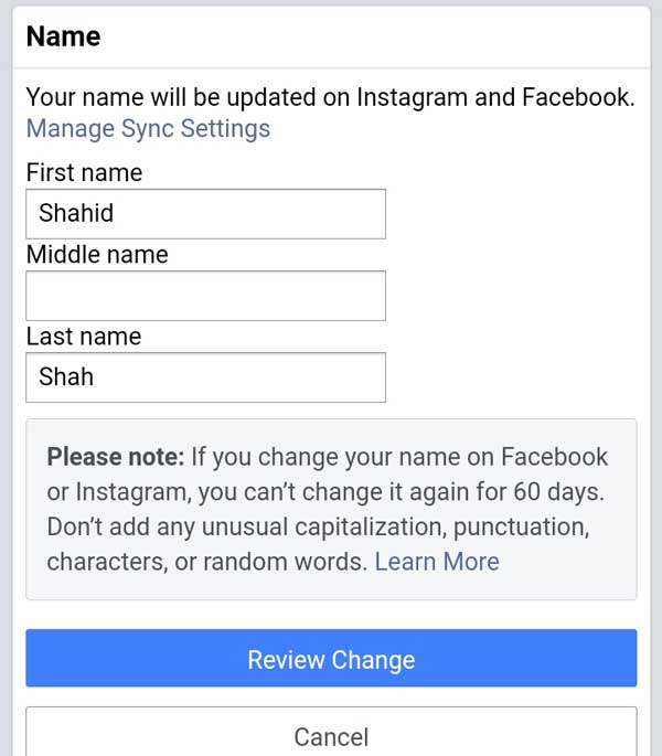 how can I change my profile name on facebook