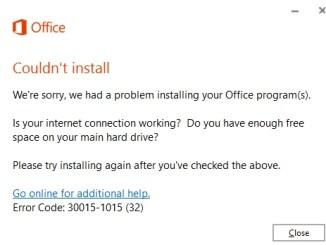 fix microsoft office installation error