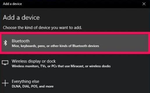 add bluetooth device to windows 10