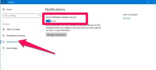 cortana incoming call notification settings windows 10