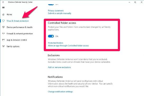 controlled folder access windows 10