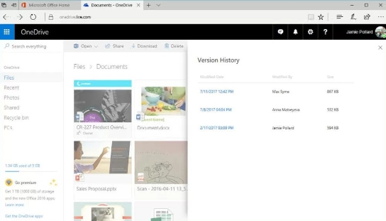 onedrive version history list pane