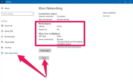 xbox networking settings page windows 10