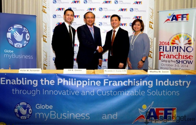 Globe myBusiness recently formalized its collaboration with AFFI in a signing ceremony led by (from left) AFFI Pres. & CEO Victor Fernando, Globe EVP and COO Gil Genio, AFFI Corporate Secretary Ricardo Cuna, CFE, and Globe SVP for myBusiness Martha Sazon