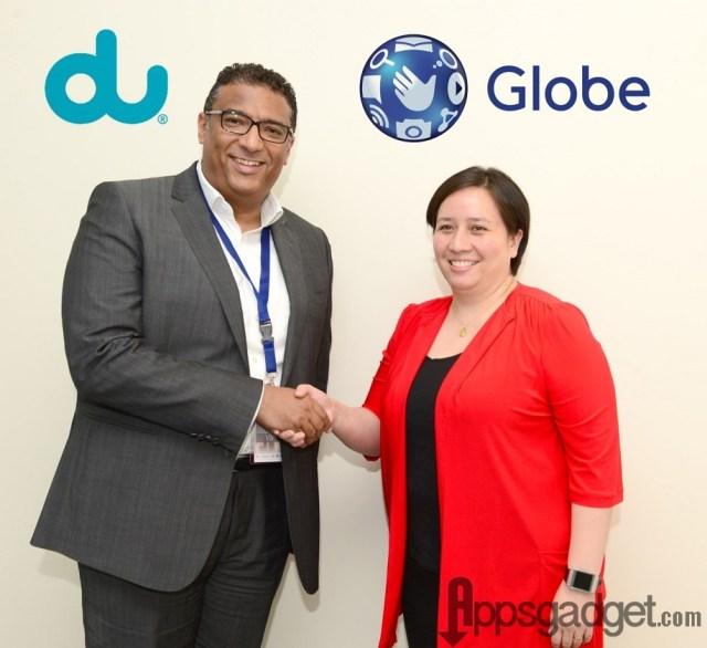 Globe seals partnership with leading UAE telco du, to benefit 1 million OFWs by offering the lowest calling rate to PH. In the photo are du Executive Vice President, Consumer Business, Mr. Ahmed Mokhles, and Globe International Business Group Director for Marketing Carmina Velayo-Villo