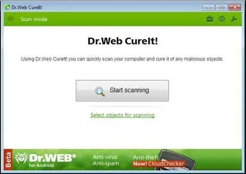 برنامج الأنتى فيرس ومكافح ملفات التجسس المجانى Dr.Web CureIt! لويندوز أحدث إصدار 2017