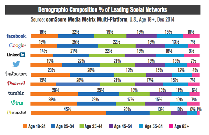 Social network demographics by age