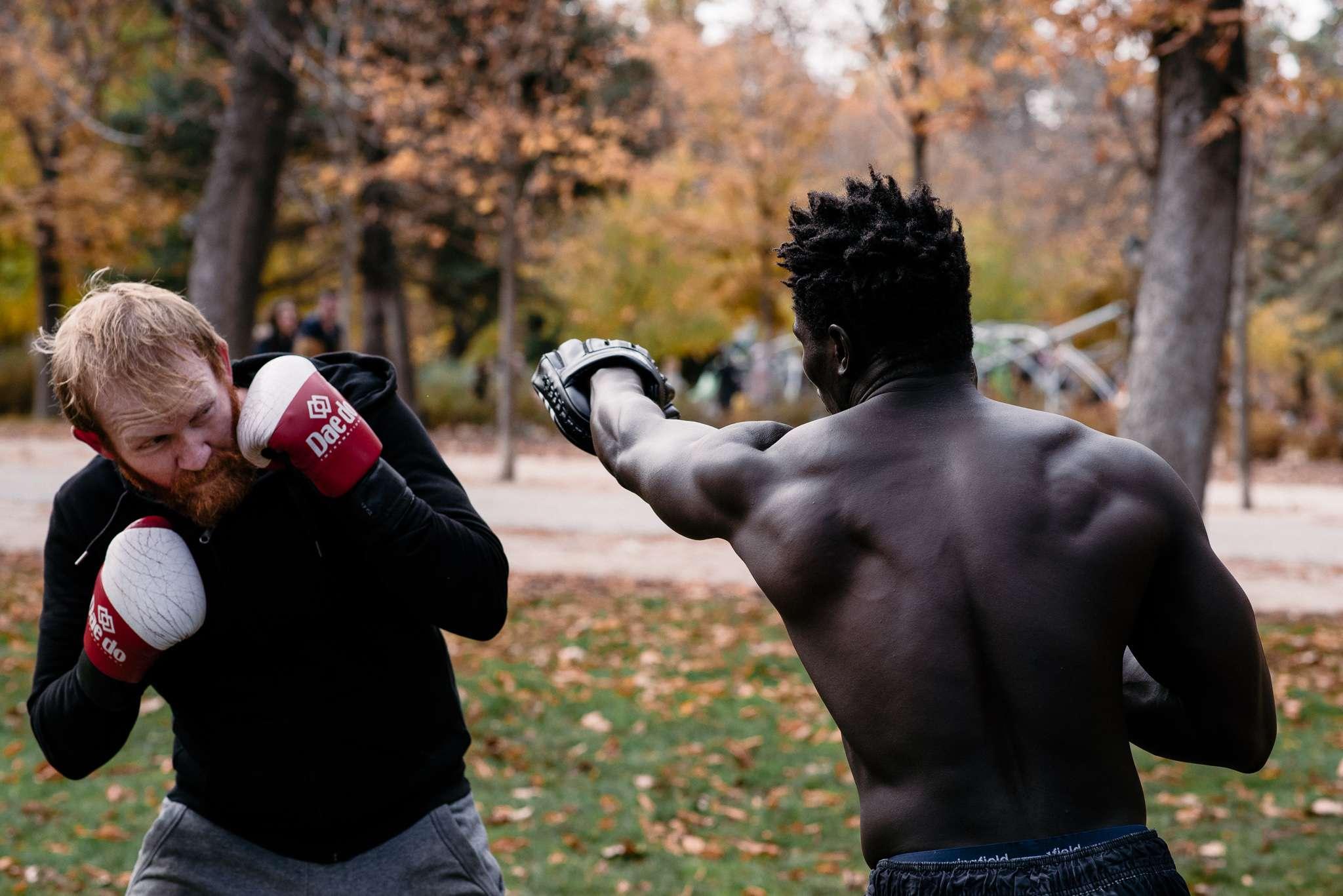 boxeo en parque retiro en inglés