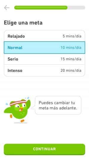 Tiempo de dedicación a Duolingo