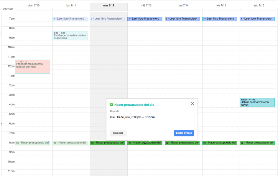 Calendario financiero en Google