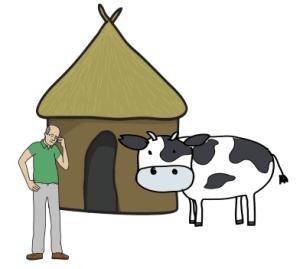 Vaca blanca casa