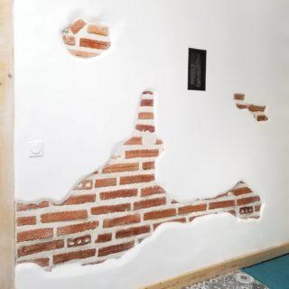 Je divulgache un peu de notre nouvelle cuisine pour vous parler de ce trash wall.  Ce mur porteur était le pire de la maison : ni droit, ni plat, ni sain, ni uniforme... Même après conseils de pros, on savait qu'on en tirerait rien de terrible.  On l'a rénové à reculons : un peu de ciment dans les trous, un peu de placo pour compléter le haut, un peu de mortier pour lisser... et puis on l'a laissé en plan en se disant que le moment venu, on verrait bien ce que l'on fait.  Quand est arrivée la rénovation de la cuisine, on y a trouvé du salpêtre... On était au fond du sceau (d'enduit). En cassant ce qu'on était sensés réparer, je me suis dit que cela pouvait être une chance : et si on laissait ces zones cassées ? Et si, au lieu de cacher les défauts, on les embellissait?  J'ai cassé jusqu'aux briques, agrandi et multiplié les trous (sous l'oeil dubitatif de Benji) et une fois nettoyé, rejointé, ré-enduit... ce vieux mur n'était plus si moche. Il ne fera pas l'unanimité, c'est certain. Mais ces briques donnent un style tout en faisant diversion (et pour le reste, il y a les plantes 😁).  Si je vous raconte tout ça, c'est parce que c'est un peu l'histoire de notre rénovation : décider qu'on verra bien au moment venu, et puis s'adapter.  En fait, c'est un peu l'histoire de notre vie, depuis que l'on est ensemble. Ça n'a pas trop mal fonctionné jusqu'ici. __________________________________ #trashwall #renovation #homedecor #interiordesign #murenbriques #travaux #autoconstruction #déco #apreslaflemmerenovation
