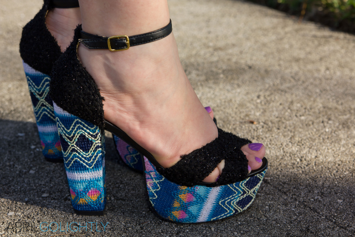 Navajo Print Platform Sandals Shoes with Ankle Strap with black tweed and radiant orchid nail polish