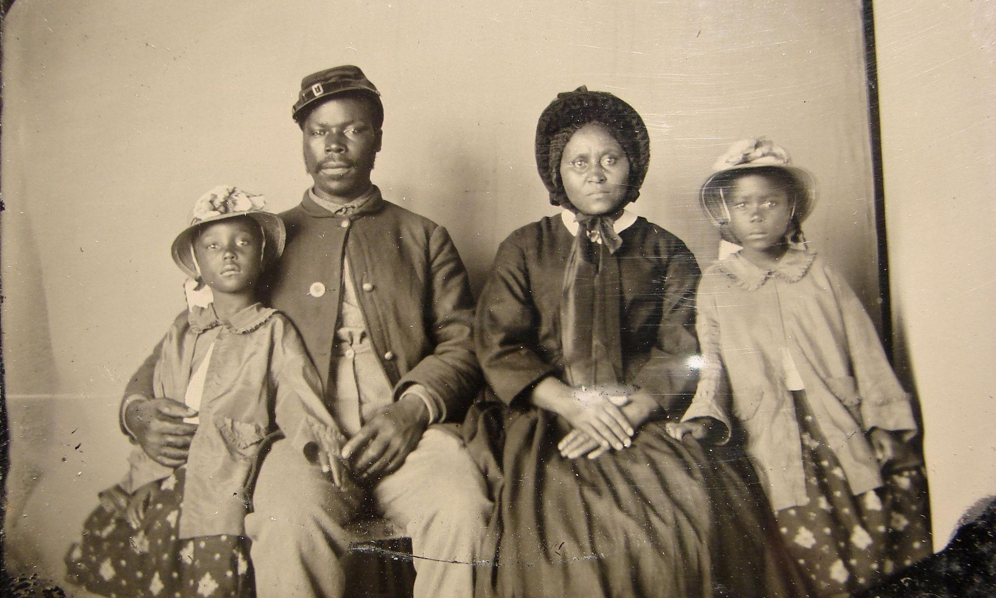 African American Union soldier and family