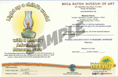 Example of a Library Adventure Museum Pass
