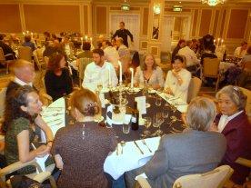 The moku hanga table at the banquet