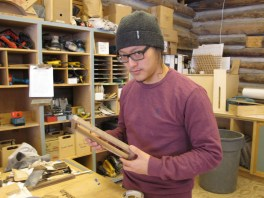 Elliot in the woodshop