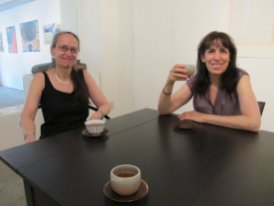 April and Susan, still jetlagged, enjoy some barley tea