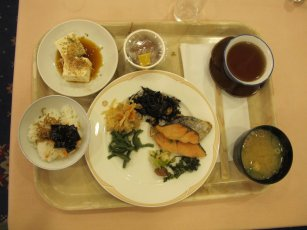 fish, rice and miso soup, fermented natto beans optional
