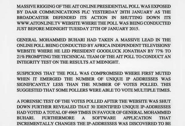 Botched Presidential Poll: AIT's Lies Exposed