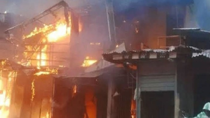 70 Shops Destroyed By Fire At Alade Market In Shomolu