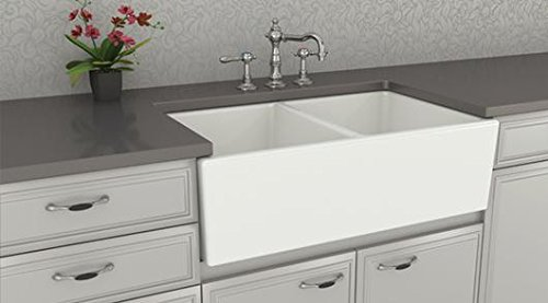 Farmhouse Kitchen Sink White U2013 Double Bowl Fireclay With Apron Front U2013  Undermount Or Overmount Design U2013 Smooth U2013 33 Inches