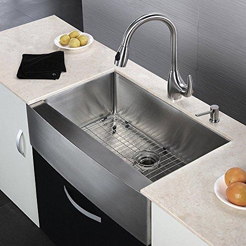 KES 33 Inch Farmhouse Sink Farm Sink For Kitchen Apron Front Kitchen Sink  16 Guage SUS