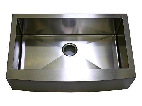 Auric Sinks 36 Retro-fit Short Apron Farmhouse Curved Front Double 60//40 Bowl Sink 6:SCAR-16-36-retro 6040 Premium 16-Gauge Stainless Steel
