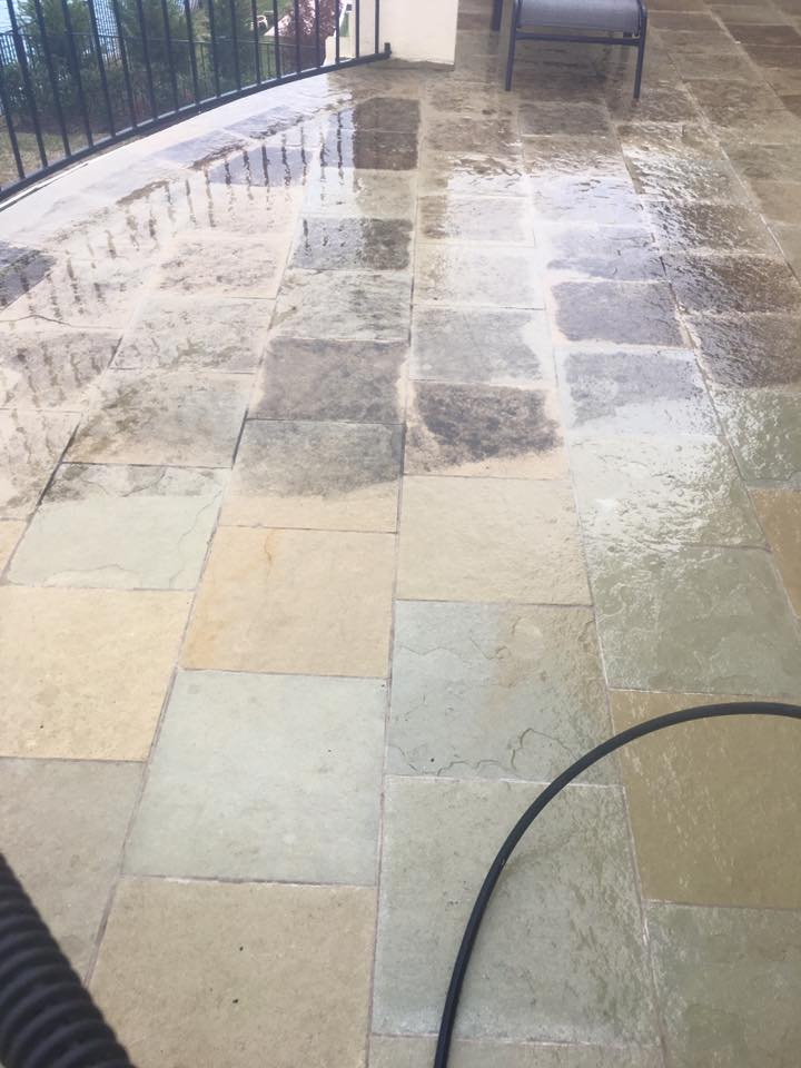 how do you clean a concrete pool deck
