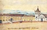 Largo do Palácio do Governo , Igreja e Colégio dos Jesuítas – São Paulo – 1847